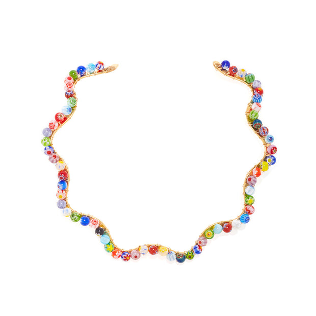 Beck Jewels - Splash Millefiori choker is handcrafted in Brooklyn, by women for women. Handweaving millefiori beads with 14k gold-filled wires on a 1-micron gold-plated, hammered choker (metals are manufactured and plated in the USA)