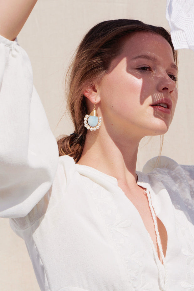 Beck Jewels - Aquamarine Lolitas are handcrafted in Brooklyn, by women for women. Pairing freshwater pearls with natural aquamarine gemstones, created weaving 14k gold-filled wires (metals are manufactured in the USA)