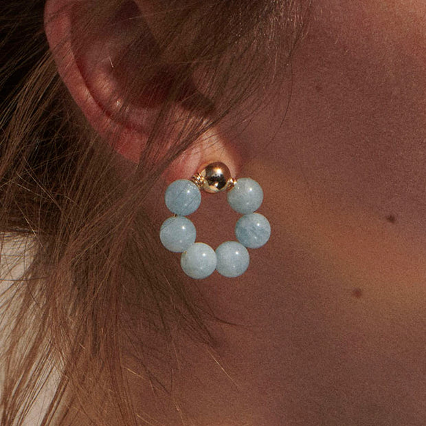 Beck Jewels - Aquamarine OG studs are handcrafted in Brooklyn, by women for women. Weaving aquamarine gemstones in 14k gold-filled wires (metals are manufactured in the USA)
