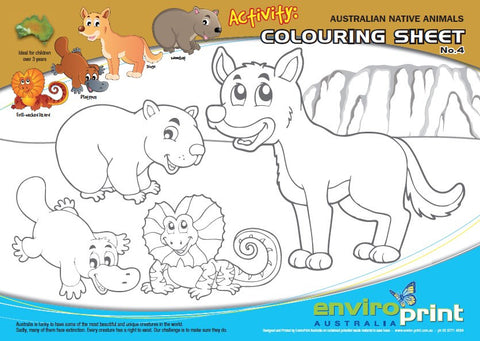 Australian Threatened Species Colouring Sheet No.4 & Times Table Chart (Pack)