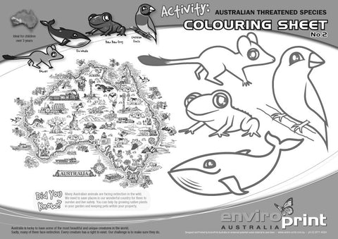 Australian Threatened Species Colouring Sheet No.2 (Pack)