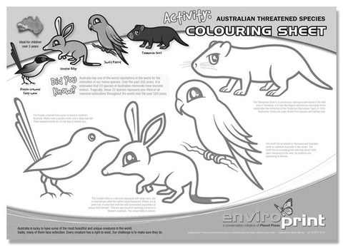 Australian Threatened Species Colouring Sheet No.1 (Pack)