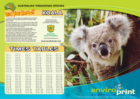 Koala Times Table Sheet (Pack)