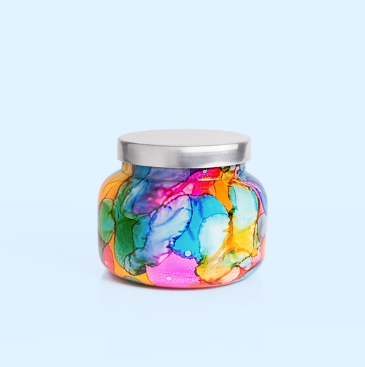Capri Blue: Volcano Watercolor Rainbow Jar (85 hour burn)
