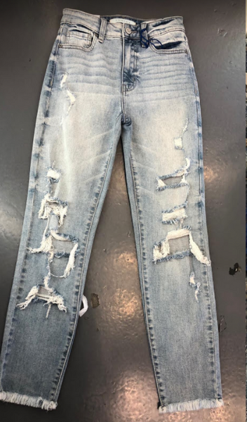 High Rise Distressed Mom Jean