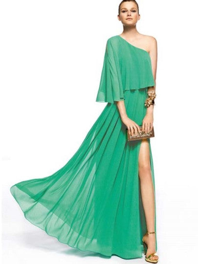 Asymmetric One-Shoulder  Maxi Dress