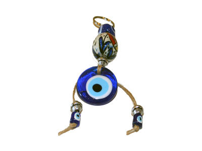 Evil Eye Large Painted Ceramic Bead Key Chain