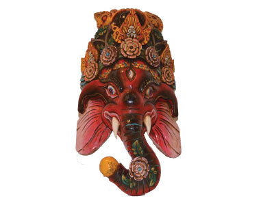 Ganesh Mask Hand carved and Hand painted