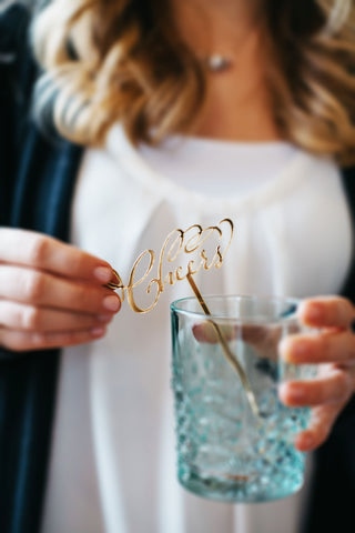 gold mirror cheers drink stirrers