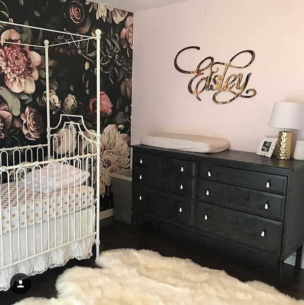 Mirror Baby Name Room Decoration, Gold Above The Crib