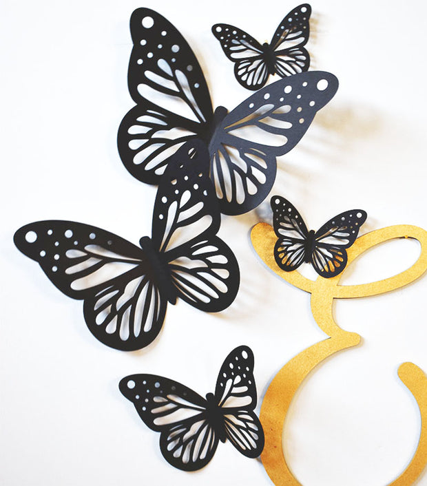 Black 3D Paper Butterflies - thebestcaketoppers