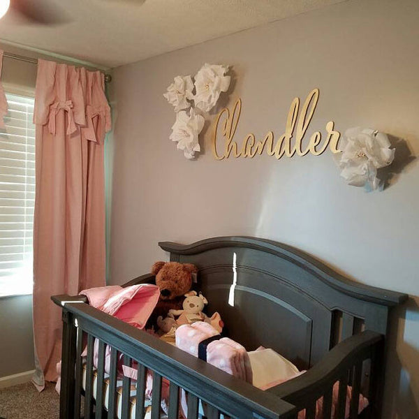 Large Laser Cut Calligraphy Name Sign for Kid's Wall or Nursery - thebestcaketoppers