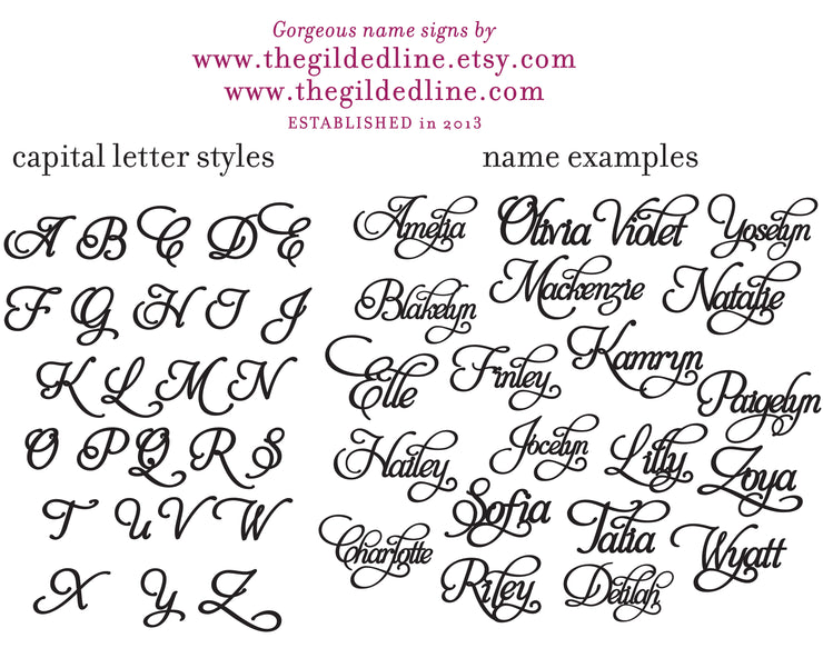 Large Flourish Calligraphy Style Wall Name Sign - thebestcaketoppers