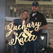 Large Laser Cut Custom Wedding Name Sign - thebestcaketoppers