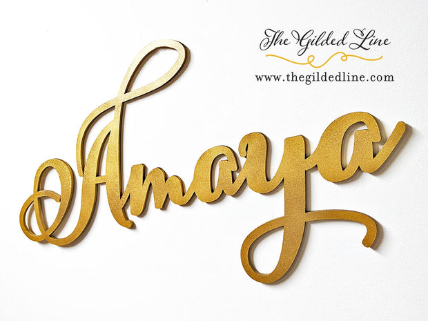 Gold Glitter Baby Name Sign