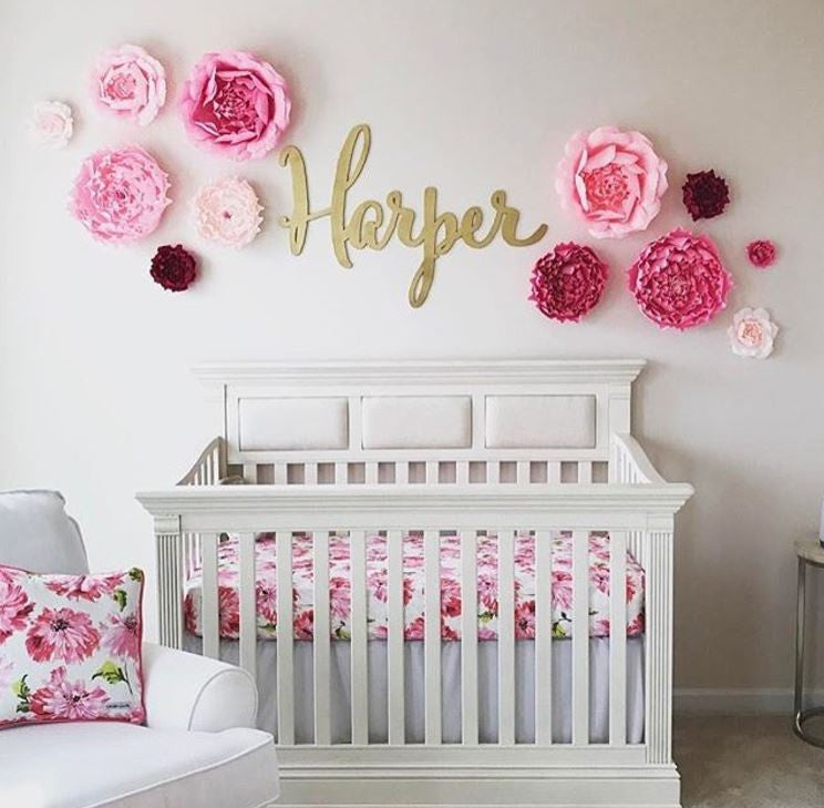 Here Is Harper S Updated Nursery: Large Laser Cut Calligraphy Name Sign For Kid's Wall Or