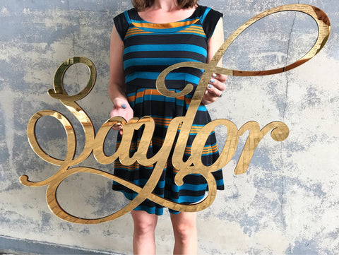 Mirror Baby Name Room Decoration, Gold Above the Crib Nursery Decor - thebestcaketoppers