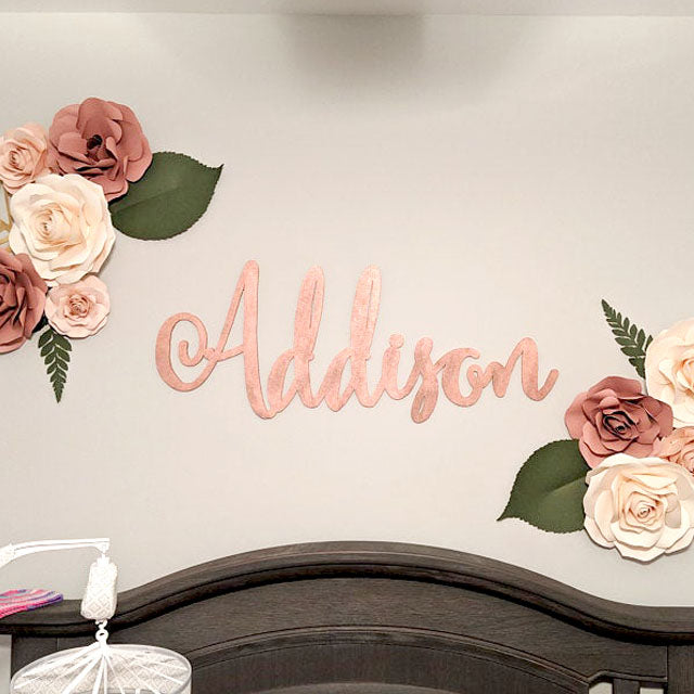 Rose Gold Baby Name Sign for Girl Nursery Decor - thebestcaketoppers