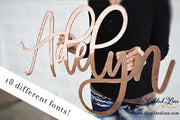 ROSE GOLD MIRROR NAME SIGN - thebestcaketoppers