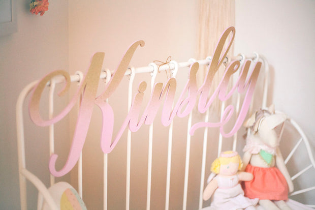 Pink and Gold Glitter Girl Name Sign - thebestcaketoppers