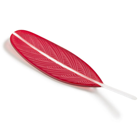 Bright Red Glass Feather