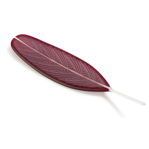 Dark Ruby Red Glass Feather