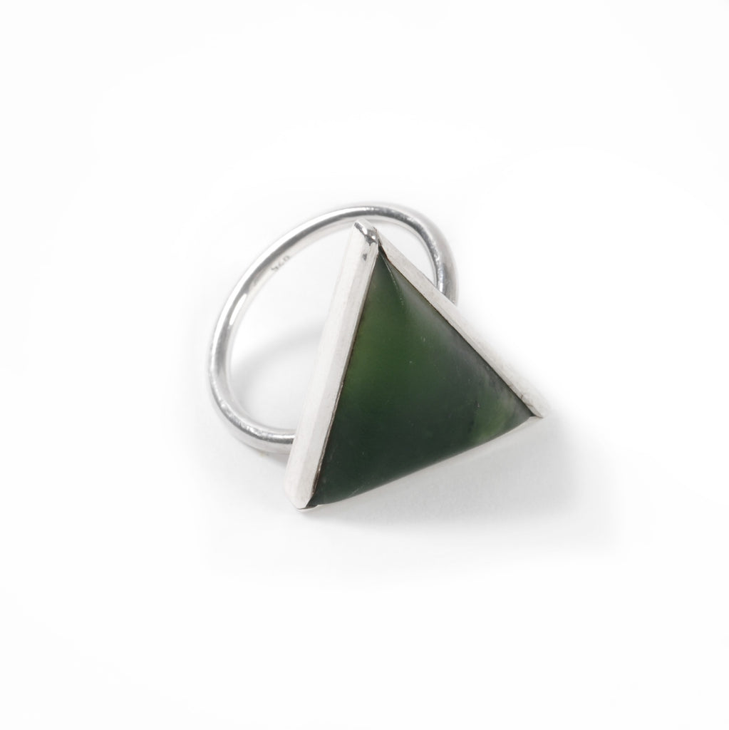 Silver Triangle Pounamu Ring