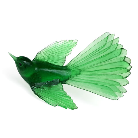 Emerald Fantail Glass Bird