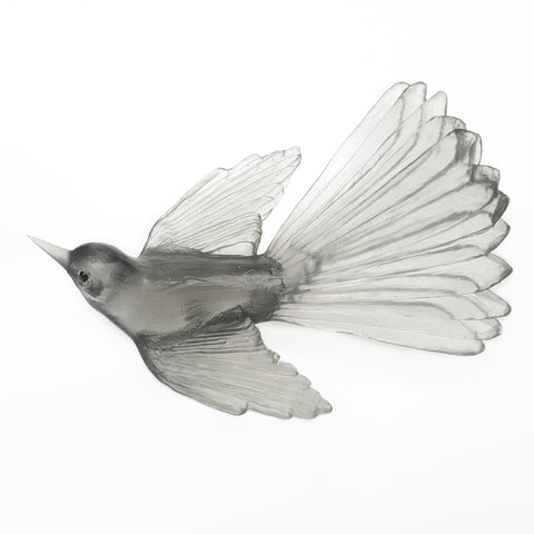 Pale Grey Fantail Glass Bird