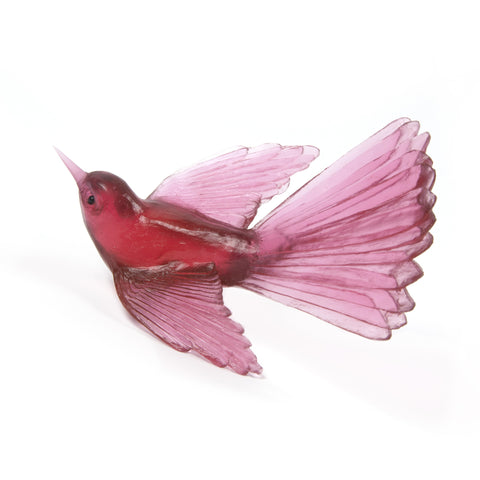 Gold Ruby Fantail Glass Bird