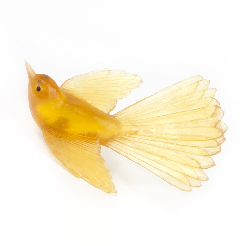 Yellow Fantail Glass Bird