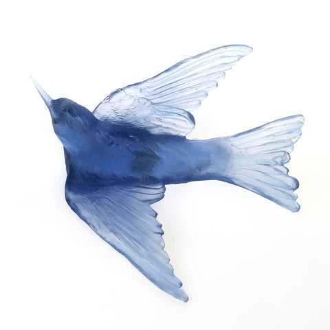 Steel Blue Swallow Glass Bird