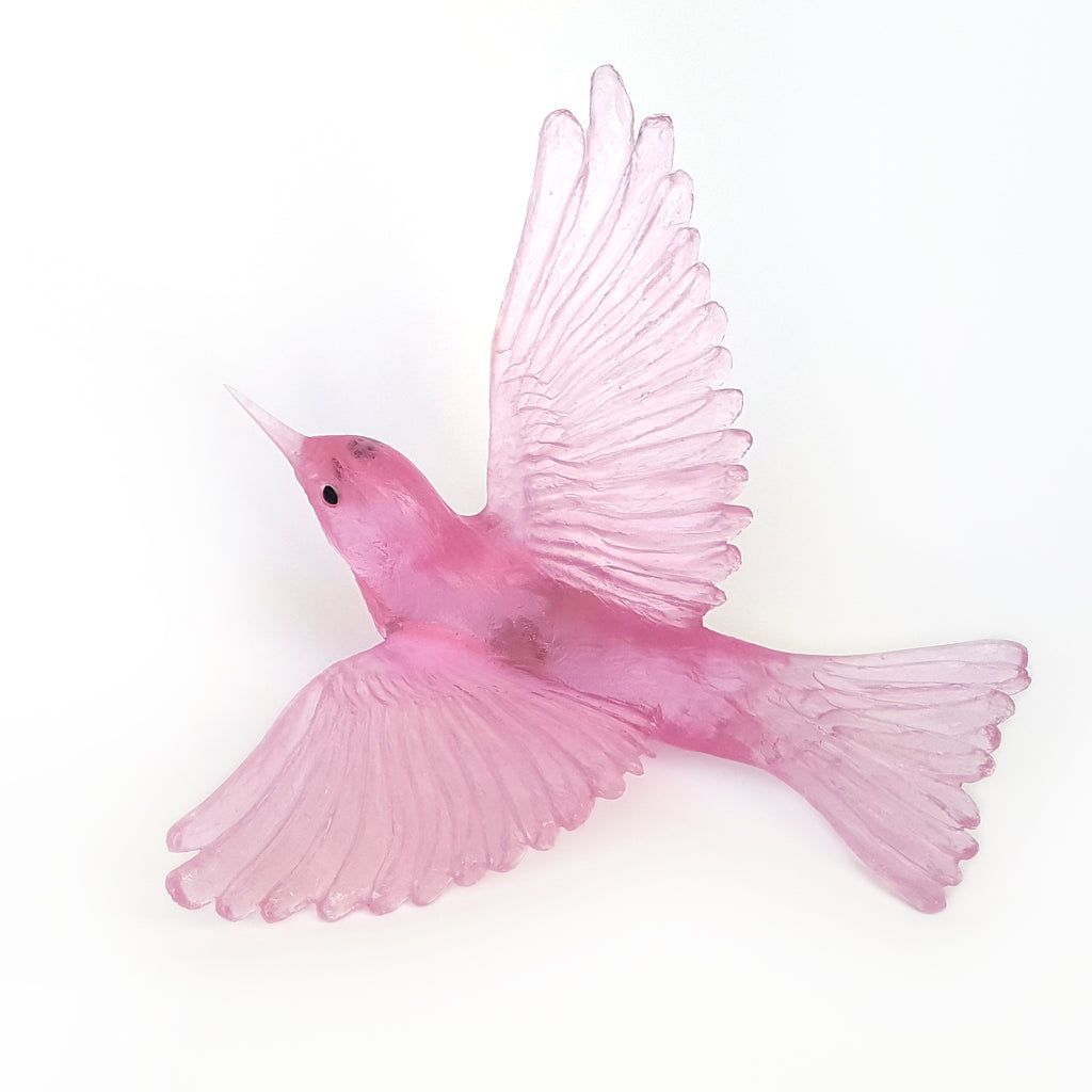 Pink Wax Eye Glass Bird