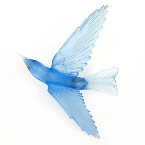 Pale Colbalt Blue Bellbird Glass Bird