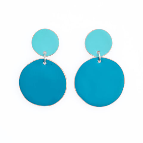 Love Fool Polka Dot Earrings Dark Turquoise/Turquoise