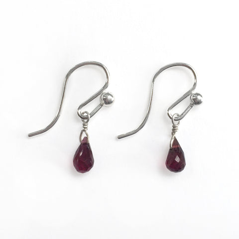 Mini Gem Droplet Silver Earrings