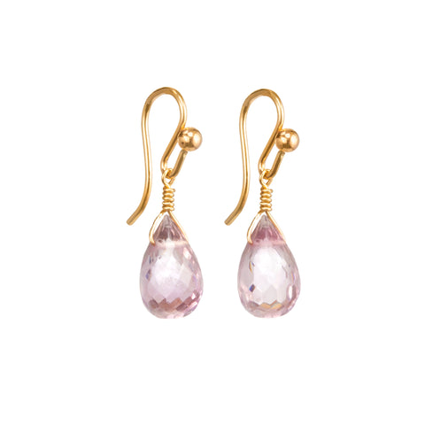 Morganite Gem Droplet Earrings