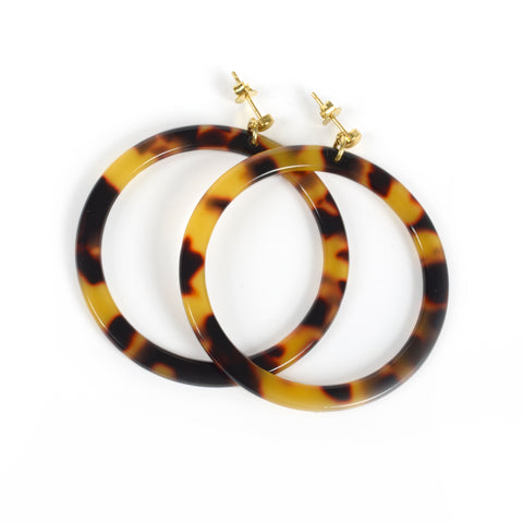 Dark Torty Hoop Earrings