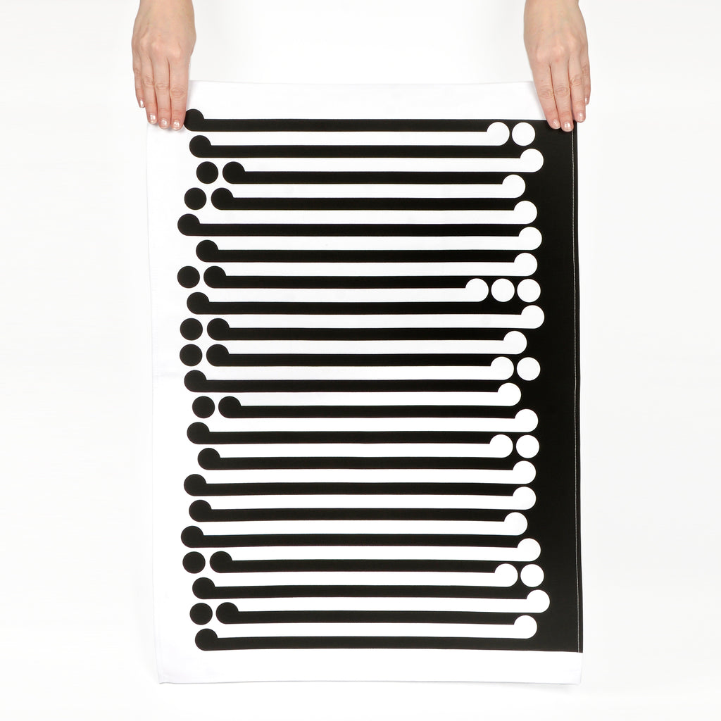 Black on White Tea Towel