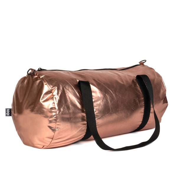 Metallic Rose Gold Weekender Bag