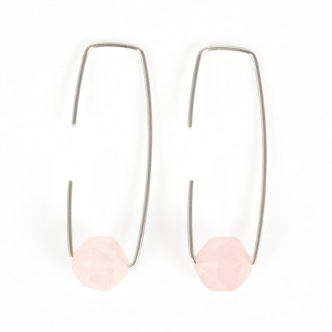 Silver Rose Quartz Staple Earrings