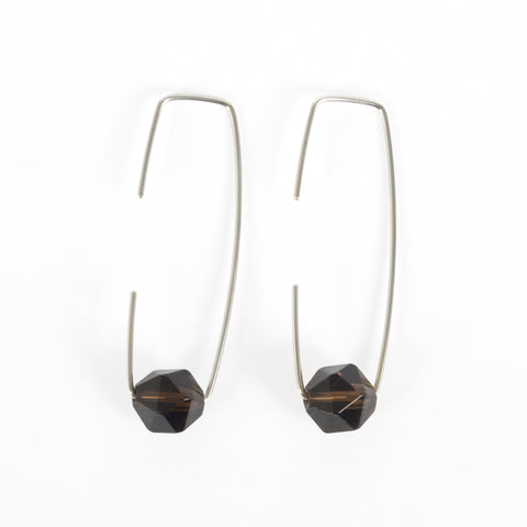 Silver Smokey Quartz Staple Earrings