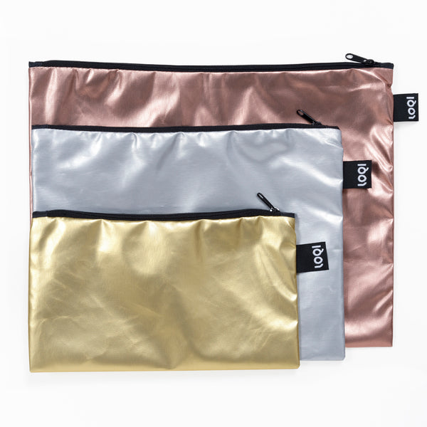Metallic Travel Bag Set