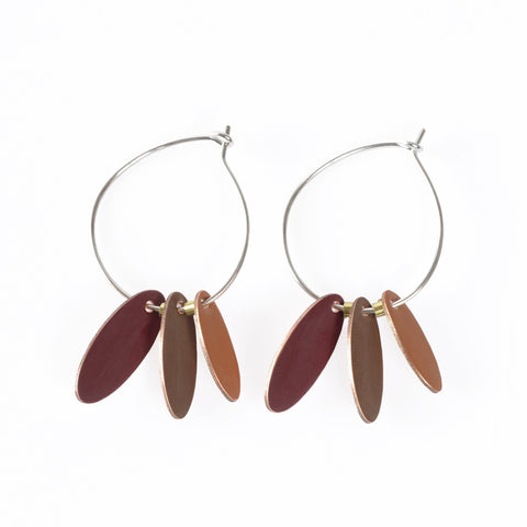 Love Fool Hoops and Drops Burgundy Earrings