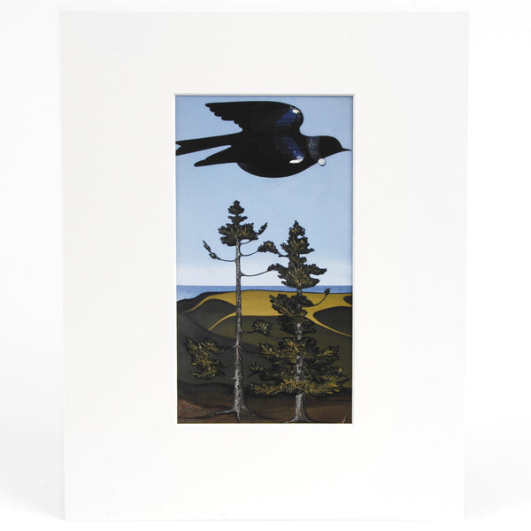 Tui over Kauri Trees Print