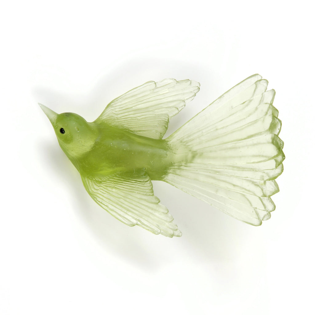 Pale Lime Fantail Glass Bird