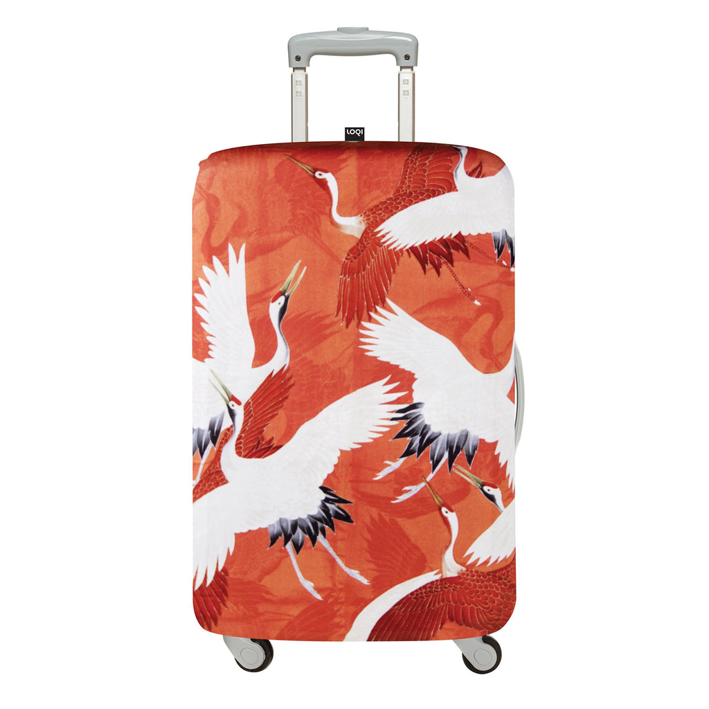 Red Cranes Loqi Luggage Cover
