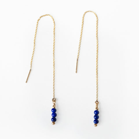 Aya Lapis Lazuli Threader Earrings