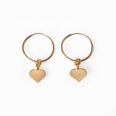 Bebe Heart Hoop Gold Earrings