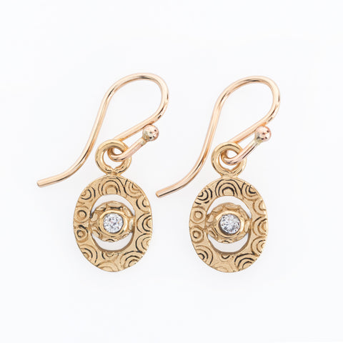 Mini Artemis Gold and Zircon Earrings